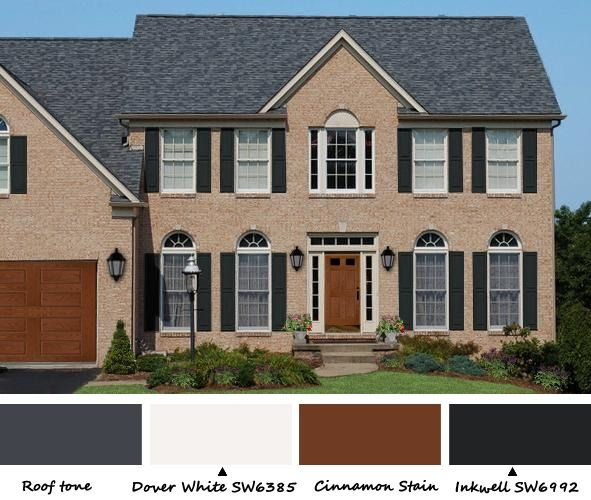 39 best house colors with country red roof images on for Tan siding shutter color combinations