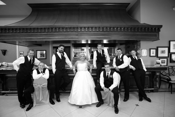 Breanne and her Groomsmen in front of one of two of the Stunning Marble Bars in the lower King George Ballroom. Liuna Station - Hamilton, Ontario.
