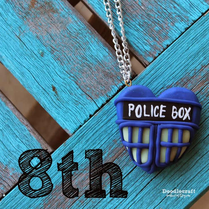 Paul McGann TARDIS Heart Necklace--8th Day of Doctor Who!  Glow in the dark Heart shaped Tardis inspired clay necklace!