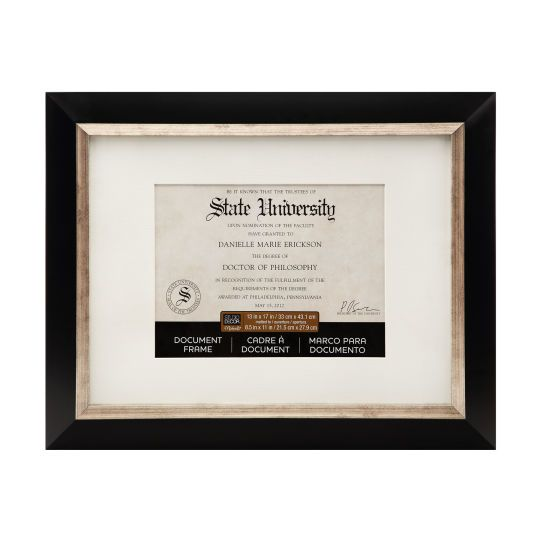 "Studio Décor® Black & Silver Document Frame With Mat, 8.5"" x 11"""