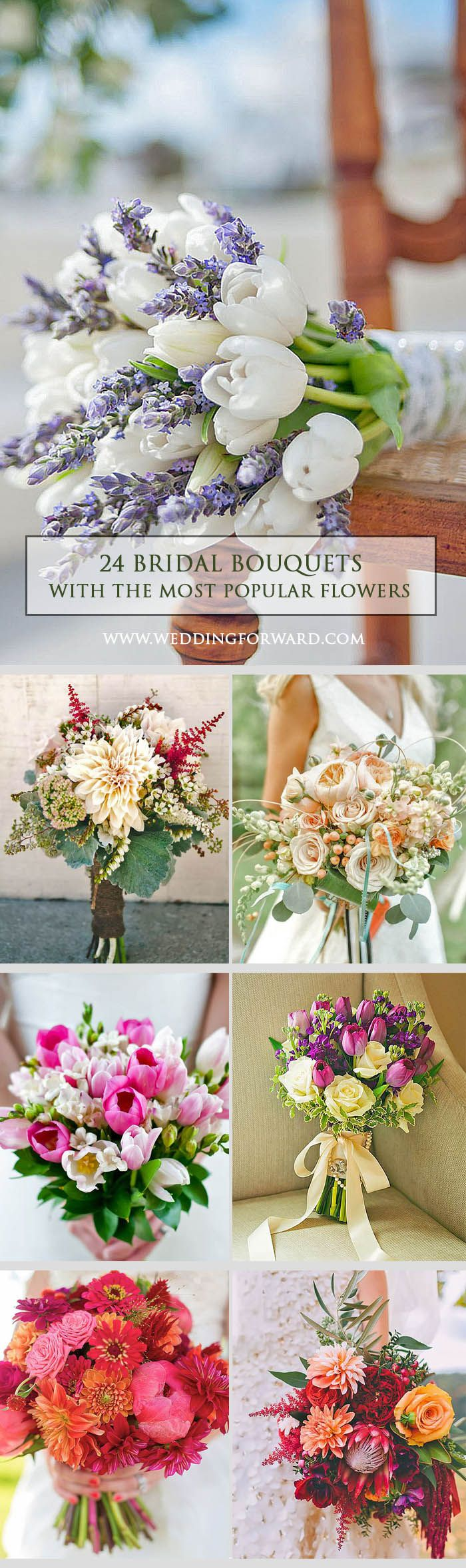 24 Most Popular Wedding Flowers In Bridal Bouquets ❤ When it comes to research of most popular wedding flowers, the task might be little difficult. But for sure you can decide which blooms you prefer. See more: http://www.weddingforward.com/popular-wedding-flowers/ #weddings #bouquets
