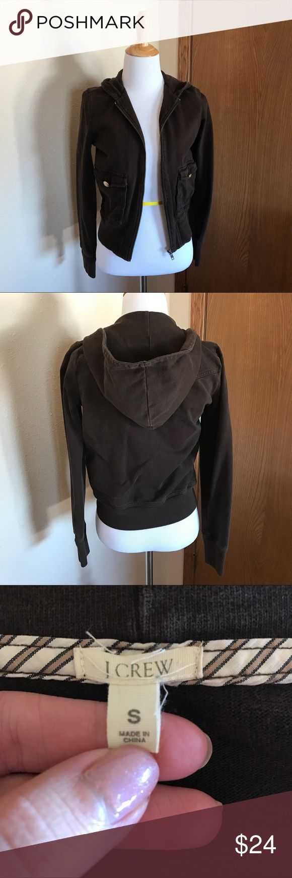 J. Crew Brown Hoodie Size Small Comfy and cozy classic brown zip up hoodie in good used condition! J. Crew Tops Sweatshirts & Hoodies