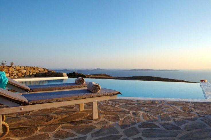 Swimming Pool and sunbeds of Gold Villa in Mykonos: http://instylevillas.net/property/gold-villa-mykonos/