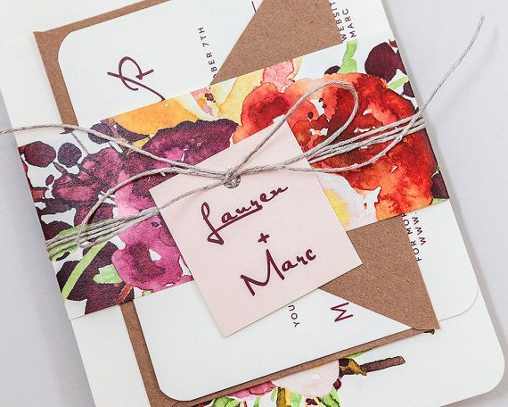 Inviti di nozze floreale moderno rustico, rustico floreale matrimonio invita, autunno floreale matrimonio invito, invito a nozze rosso profondo paese impostato