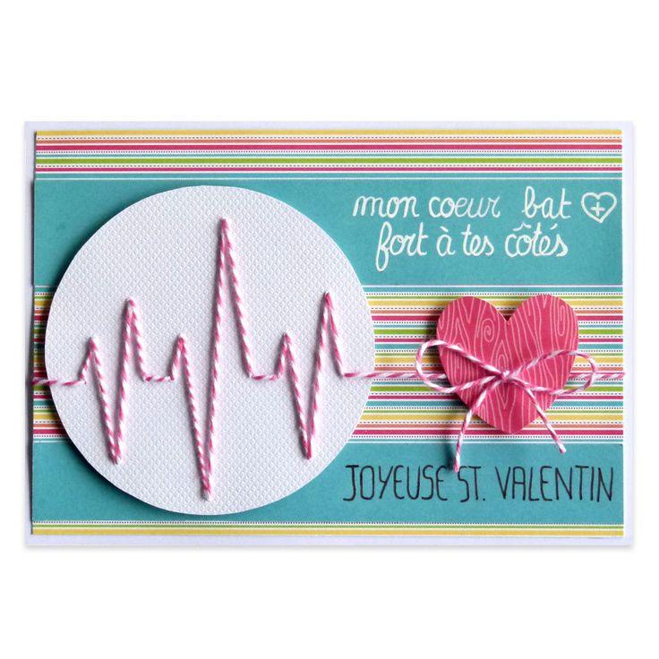 Carte Saint Valentin Electrocardiogramme, Collection Lovely Scrap, Lovely Carte