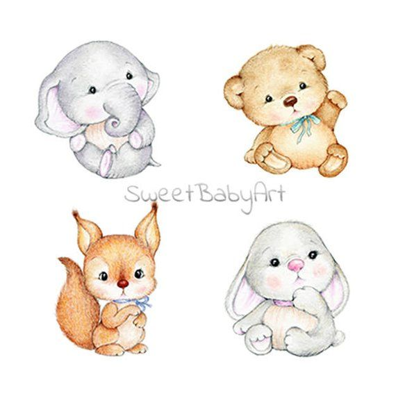 Bear Elephant Bunny Squirrel Nursery Set Animal Nursery Print Children Art Print Kids Wall Art Boy Baby Room Art Girl Nursery Decor Baby Animal Drawings Nursery Animal Prints Baby Illustration