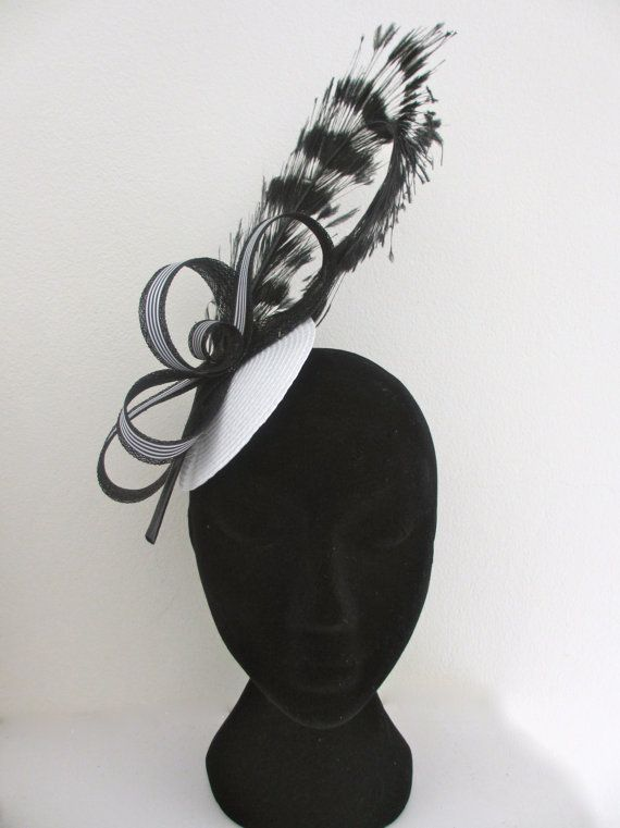 Black and White Stripe Fascinator Hat for Races by PauletteJayne, $70.00