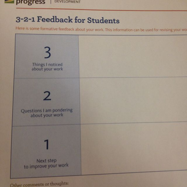 Good formative assessment feedback sheet for students #edchat