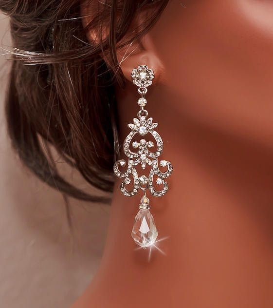 NICOLA - Vintage Inspired Silver Rhinestone and Swarovski Crystal Bridal Chandelier Earrings