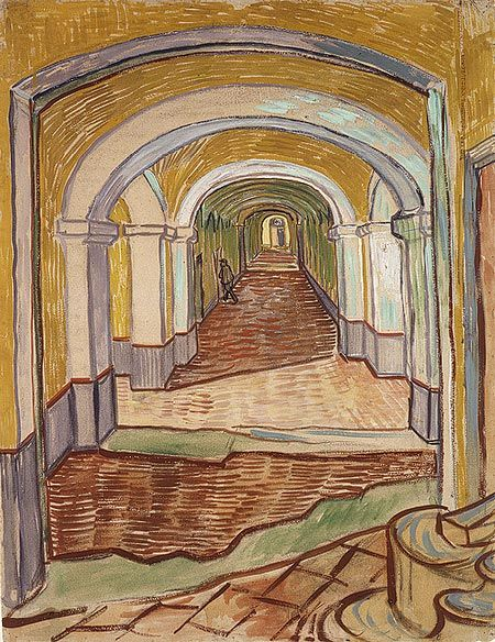 """""""The artist sent this unusually large and colorful drawing to his brother Theo, to give a picture of his surroundings."""" -- Met Museum / A Corridor in the Asylum / Vincent van Gogh / 1889 / this is so poignant...."""