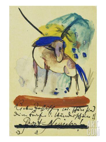 Pferd, 1913. Auf Postkarte an Else Lasker-Schueler Giclee Print by Franz Marc at Art.com