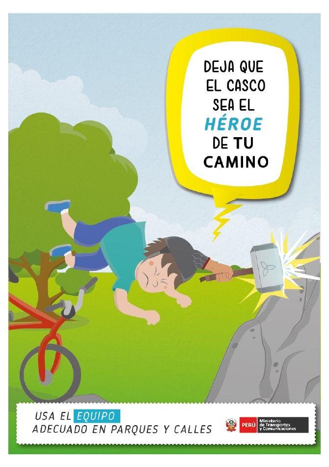 """Print """"Usa el equipo adecuado en parques y calles"""" para el MTC (Eric Serrano, Luis Suárez, Jhordan Tello)"""