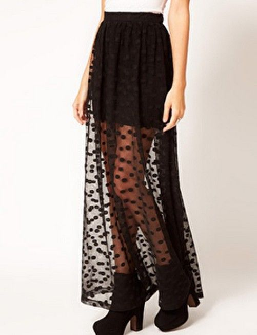 long maxi skirts for women Black gauze transparent female fashion tulle grunge straight dot skirt clothing sexy saias longa