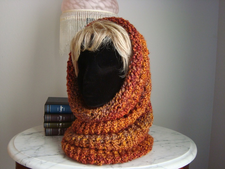 Loom Knitted Hooded Cowl/ look past the ladygaga wig please
