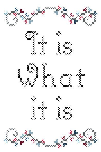 It is what it is Cross stitch pattern.
