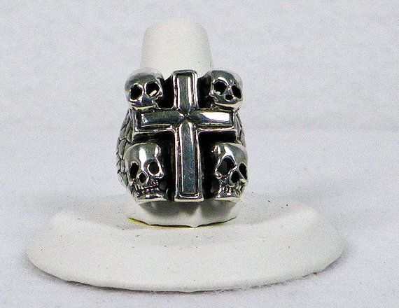 Sterling Silver Catacombs Ring - Skulls and Cross Gothic Style - Sale Clearance Priced by WarpedMetal, $85.00