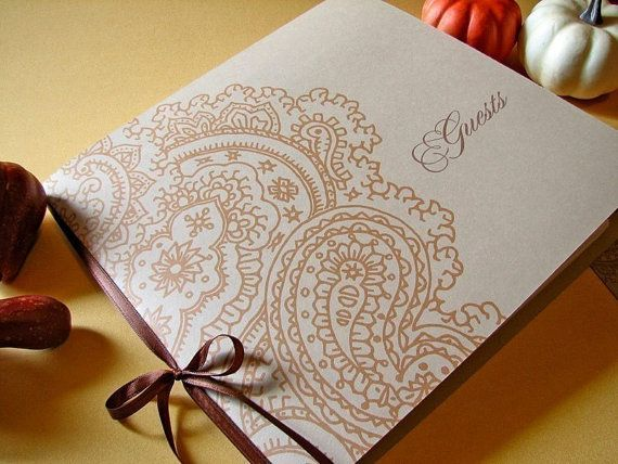 Paisley Wedding Guest Book by Earmark on Etsy, $ 25.00 >> Change colors to match your big day!