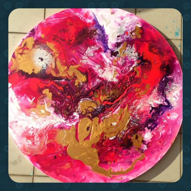Martian Explosion - acrylic round 80 cm with red, neon pink,fluorescent white gold purple magenta