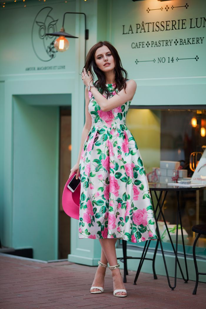 TIE BOW-TIE: MINT DRESS WITH PINK ROSES