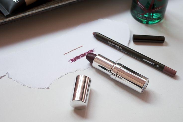 Korres Neutral Light Lip Pencil, Seventeen Plum Lipstick swatches