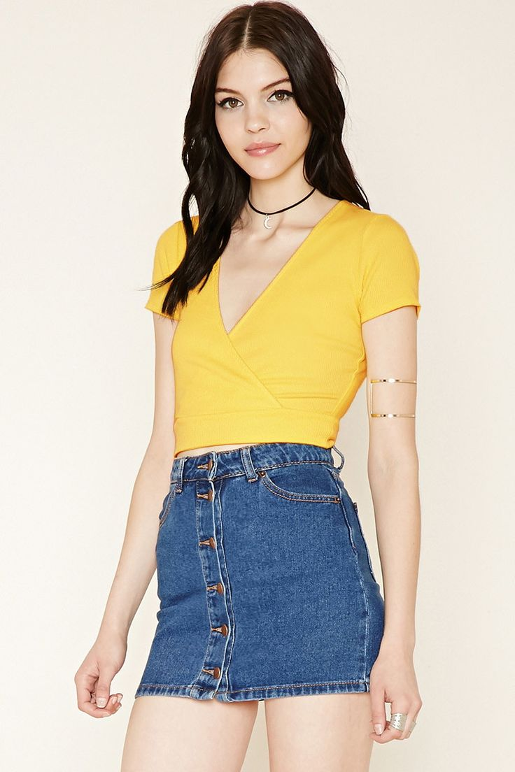 Ribbed Surplice Crop Top | Forever 21 - 2000170407