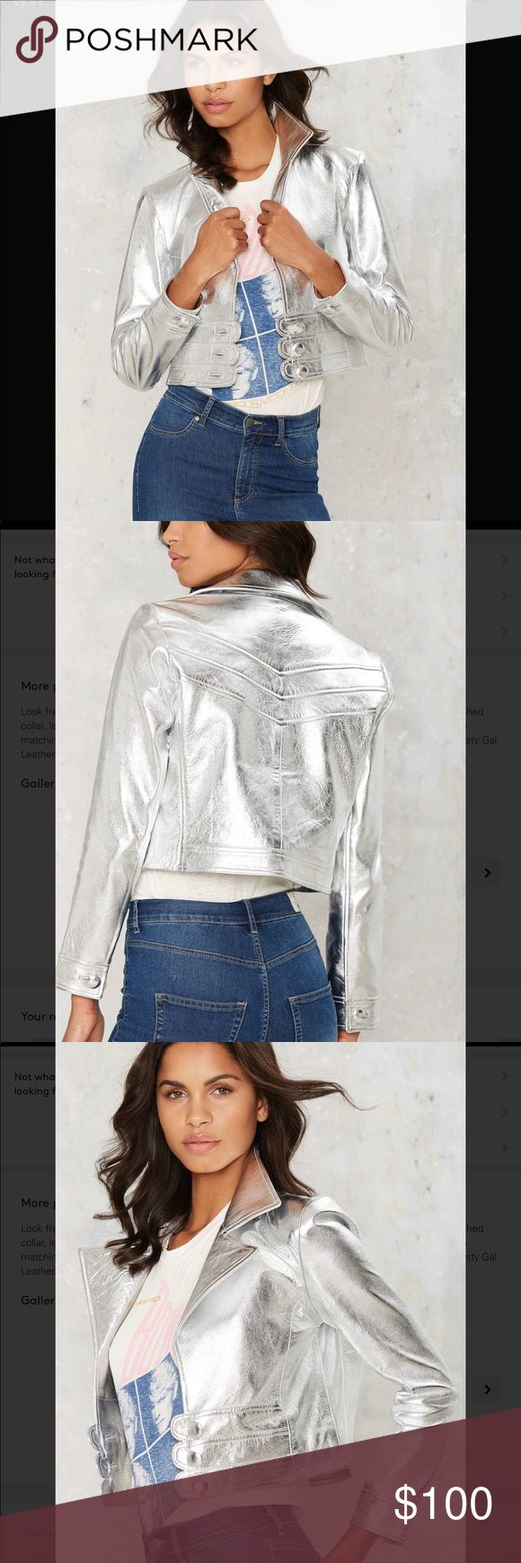 6💛nasty gal jerry Metallic leather jacket Look fresh out of the Factory. The Jerry Jacket is made in metallic silver leather and features a notched collar, leather panels with button closures at front, and button at sleeves. Fully lined. Pair it with the matching Jerry Skirt for full effect or wear it with wide leg pants for an equally amazing look. By Nasty Gal. Leather. Runs true to size. Dry clean only. California Residents: Proposition 65. Color: metallic Nasty Gal Jackets & Coats…