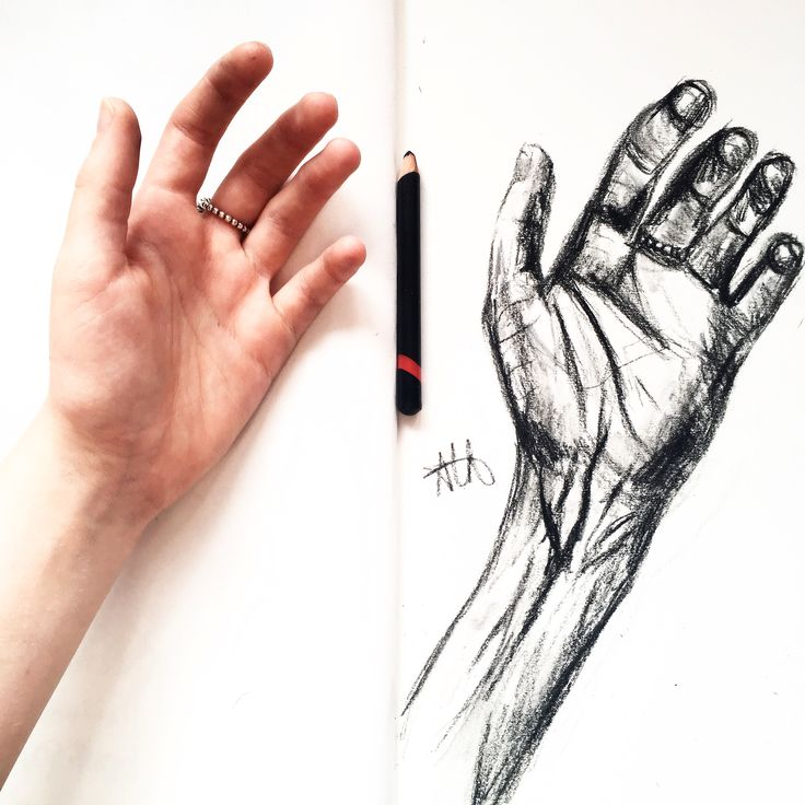 charcoal sketch of my hand.