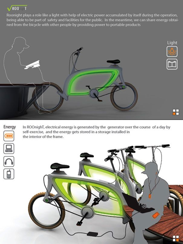 RooNighT: harnesses energy from the cycling to power its lights at night, the polycarbonate frame emits light through O.L.E.D, transforming the bicycle into a night light for the street it's parked in, intended for a public sharing system for bikers.