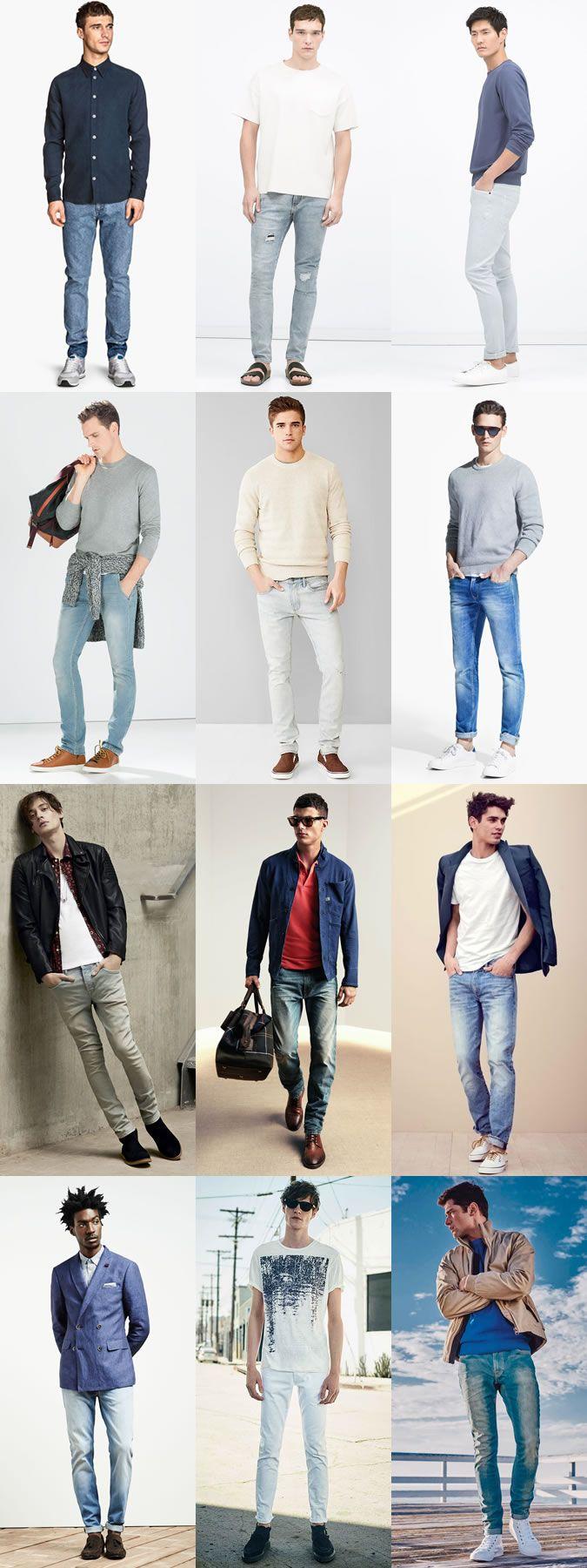 Mens Light Wash Denim Jeans Outfit Inspiration Lookbook ...