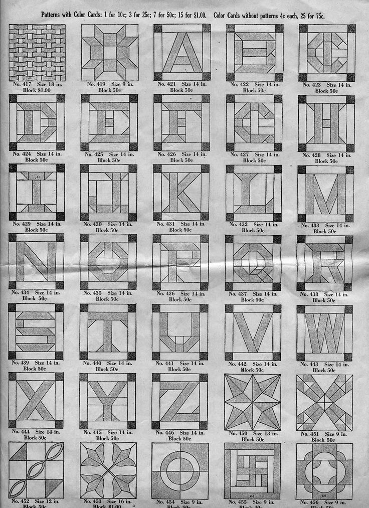 patchwork letters from Ladies Art Company Quilt Pattern Book, 1922
