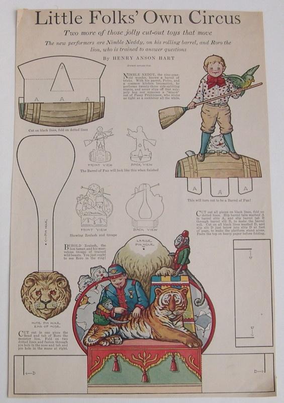 Vintage CIRCUS/LION/NIMBLE NEDDY Paper Dolls Page 1920 uncut/Ladies' Home Compan | eBay