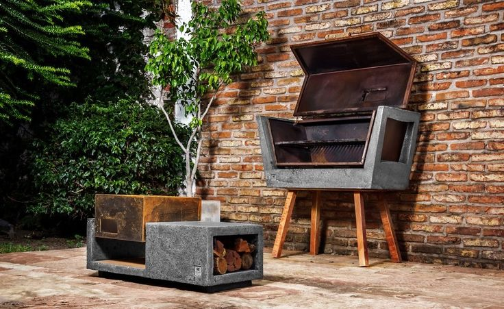 I love the idea of this concrete grill and associated wood storage