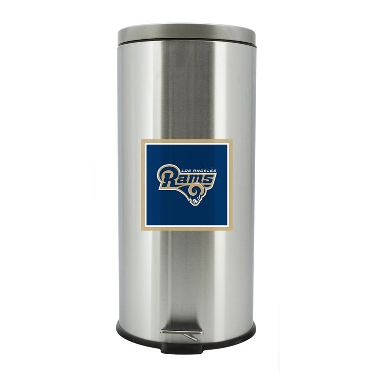 LOS ANGELES RAMS STAINLESS STEEL TRASH BIN, FOOT PEDAL OPEN & SOFT CLOSE, 30 LITER