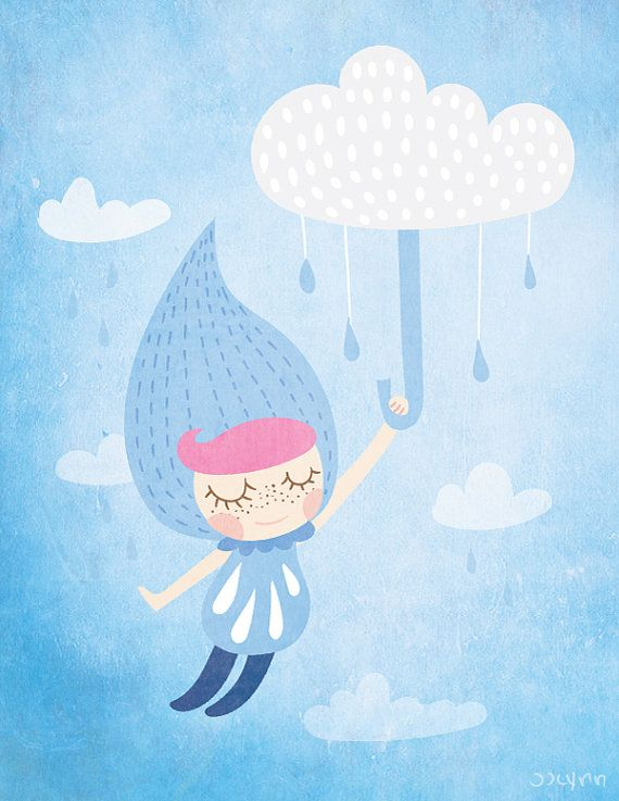 Raindrop girl is flying and touching the sky! by JJLynnDesign