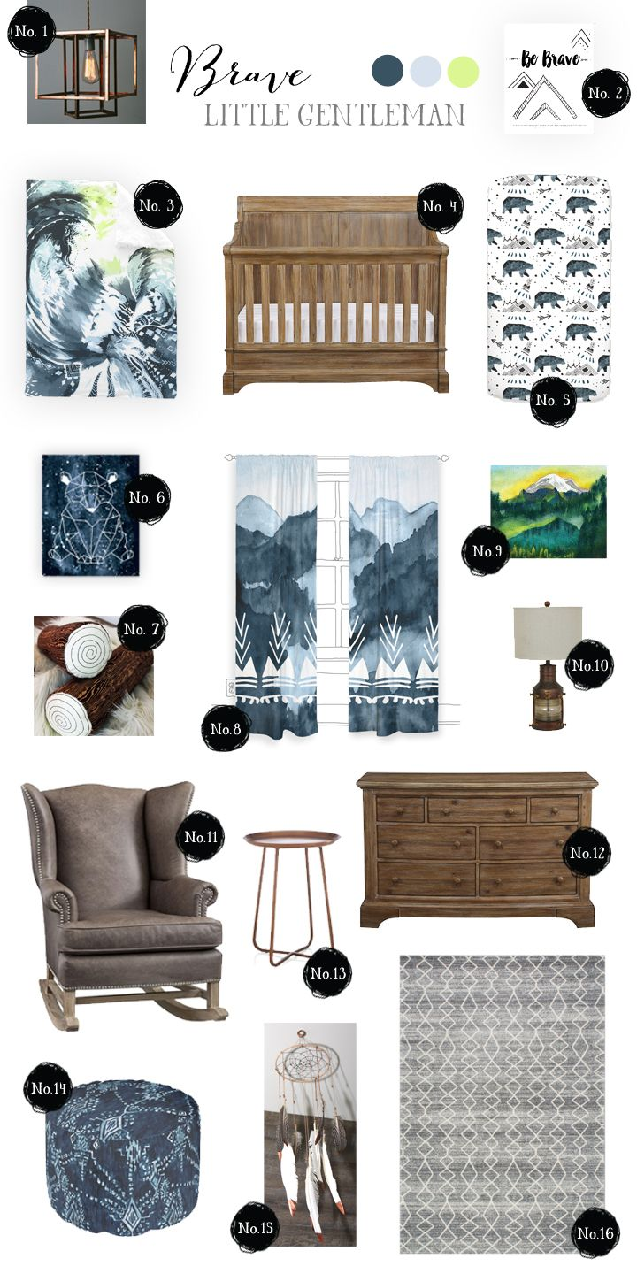 Baby boy nursery inspiration. Visit our blog for the links to all the items listed! I started with items from our collection, The Great Outdoors, and knew that I wanted it to have rustic and industrial touches yet still be refined like a little gentleman  I tend to always have a touch of native american influence in my designs as well so a dreamcatcher mobile seemed perfectly fitting! http://www.rocknrollick.com/style-board-brave-little-gentleman/
