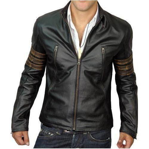 Leather Skin Men Black Genuine Leather Biker Style Jacket