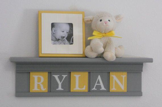 "Yellow and Gray Nursery Wall Art - Yellow Baby Boy Nursery Decor - RYLAN - Personalized 24"" Grey Wood Shelf 5 Wooden Wall Letters"