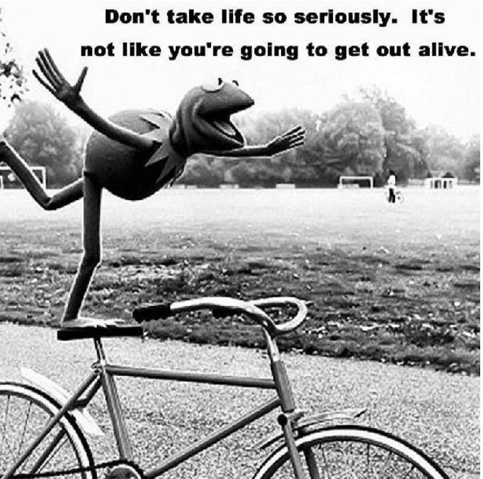 Don't take life so seriously. It's not like you're going to get out alive.