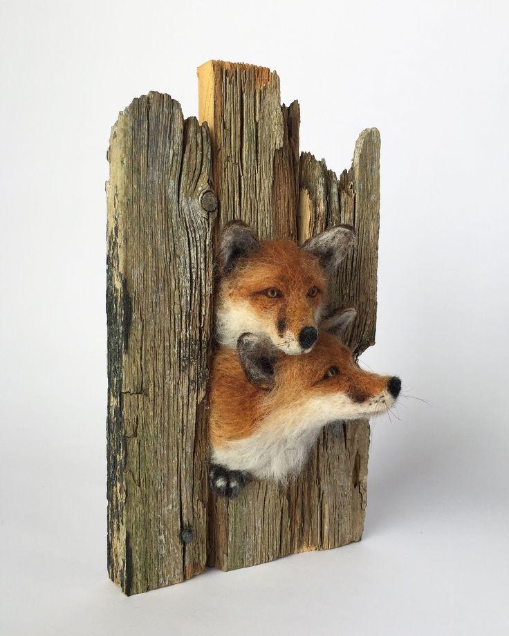 Needle Felted Fox Sculpture #needlefelted