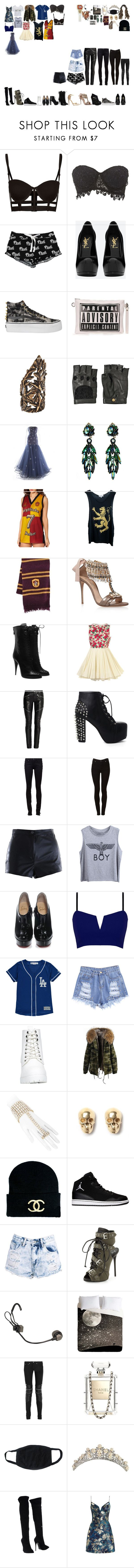"""Packing for Hogwarts"" by kaelighofficial ❤ liked on Polyvore featuring Charlotte Russe, Victoria's Secret, Yves Saint Laurent, Vans, Pamela Love, Nina Ricci, Murray Arbeid, Wildfox, Elope and Casadei"
