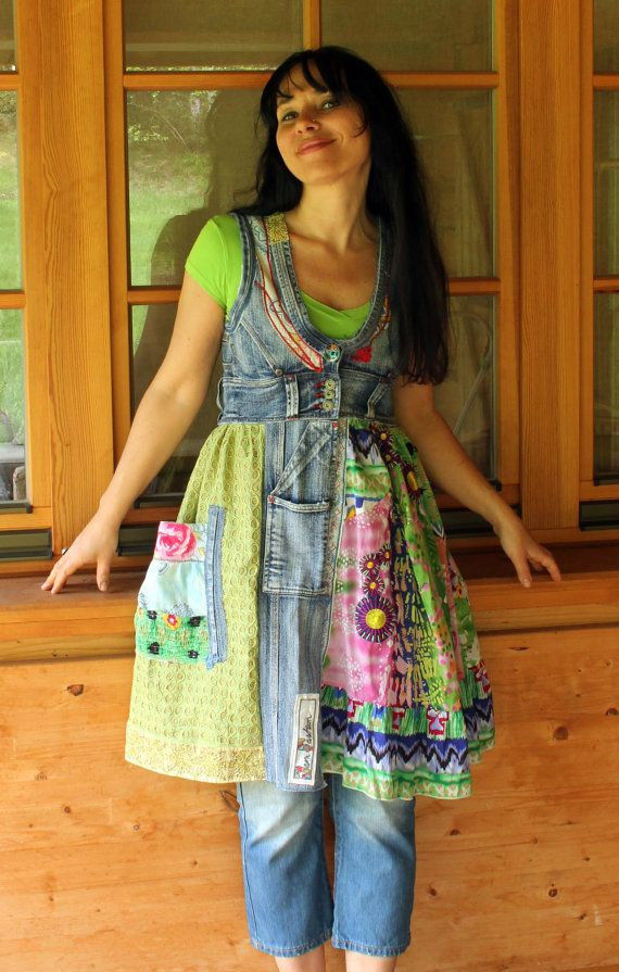Crazy recycled  jeans dress tunic by jamfashion on Etsy, $68.00: