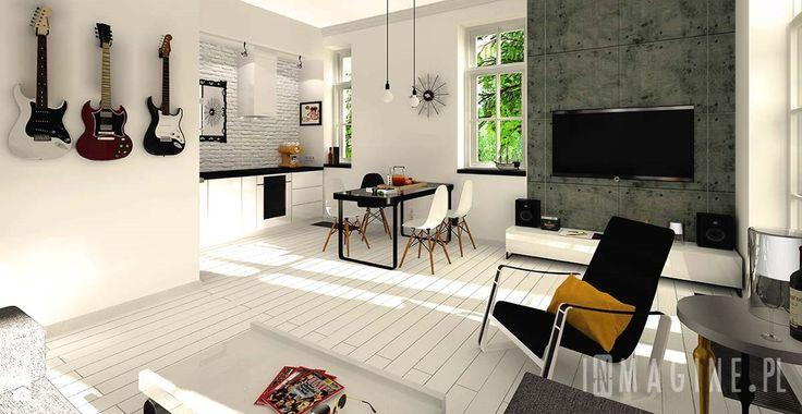 czarno - biały salon  - Salon - Styl Skandynawski - InMAGINE