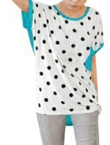 Allegra K Women Polka Dots Batwing Tops Loose Blouse Oversize T Shirt