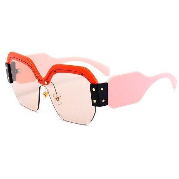 Red Vintage Half Frame Embellished Sun Shades Sunglasses