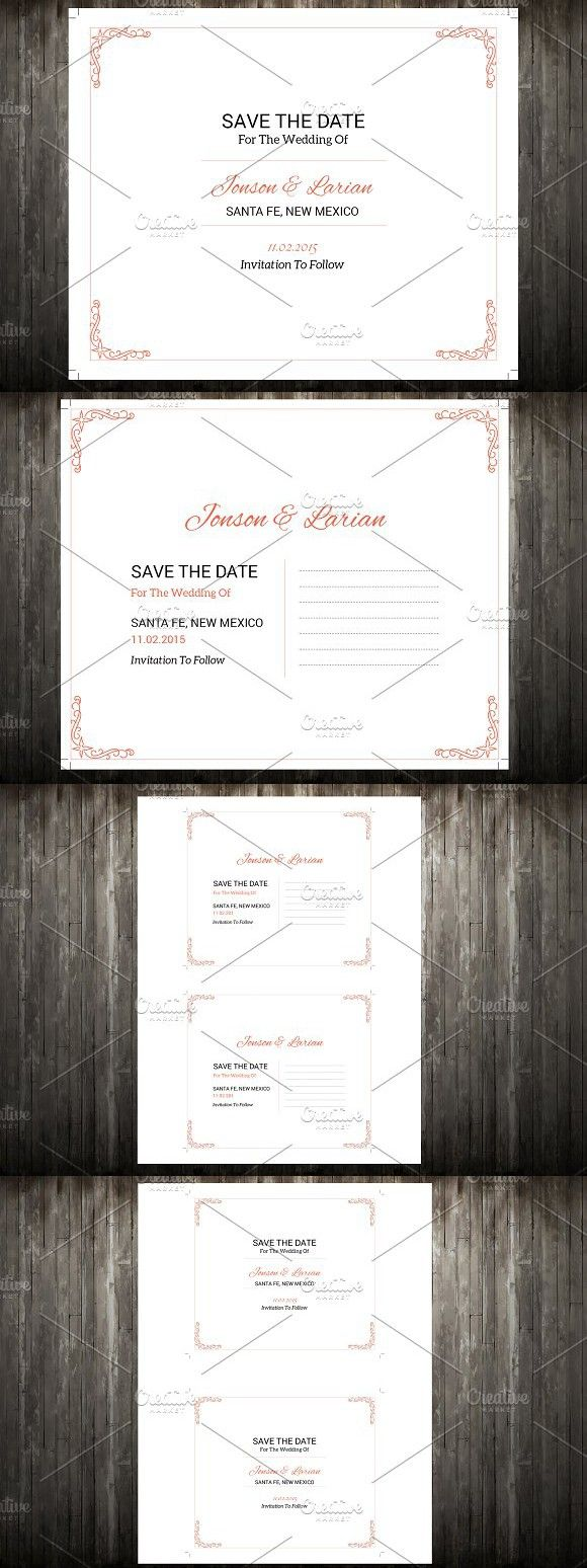 Save The Date Postcard Template. Wedding Card Templates. $7.00