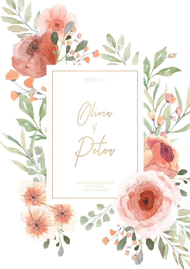 Most Up To Date Pic Wedding Invitation With The Watercolor Flowers