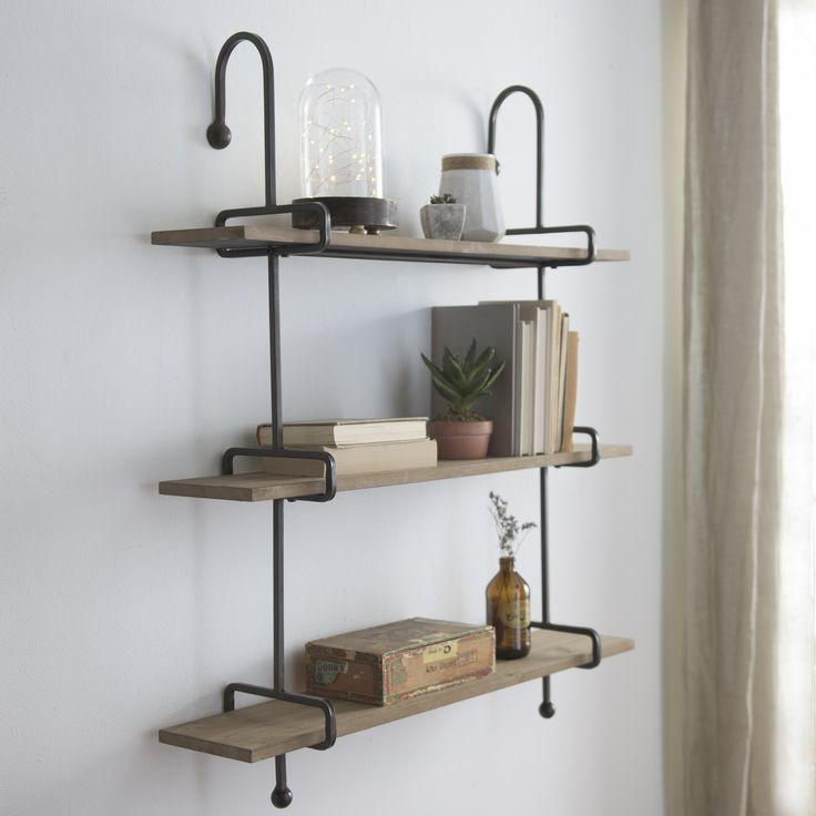 Wooden Slatpipe Shelf Wall Mounted Shelves Wood Shelves
