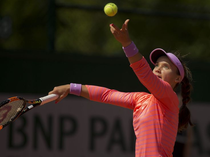 Lauren Davis (USA) in action during her match against Mirjana Lucic-Baroni (CRO) on day one of the 2015 French Open at Roland Garros,  Susan Mullane, Susan Mullane-USA TODAY Sports