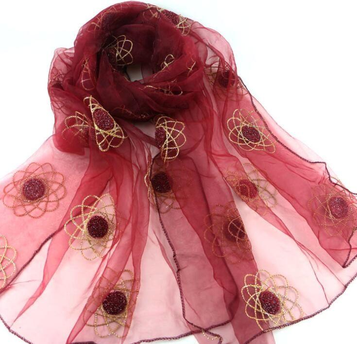 >> Click to Buy << organza shawl embroidery headscarf wrap khaleeji hijab shawl fancy style free ship 180cm X 70cm #Affiliate