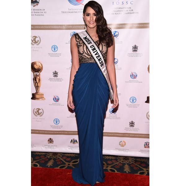 Paulina Vega Dieppa aka @missuniverse made a stylish entrance at the Waldorf Astoria in NYC for the 2015 South-South Awards this weekend in one of our favorite Fall #dresses! Shop this beaded beauty now on CLV.com.